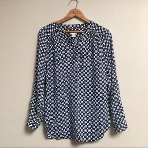 LOFT Outlet navy & white floral print popover top